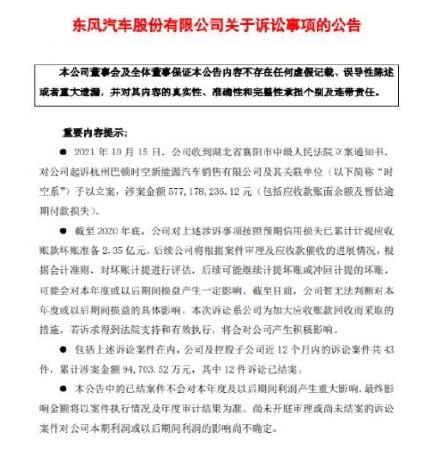 起诉,追讨5.77亿:东风汽车出手了